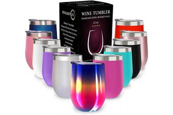 (350ml, Rainbow) - CHILLOUT LIFE 350ml Stainless Steel Tumbler with Lid & Gift Box - Wine Tumbler Double Wall Vacuum Insulated Travel Tumbler Cup for Coffee, Wine, Cocktails, Ice Cream - Rainbow Wine Tumbler