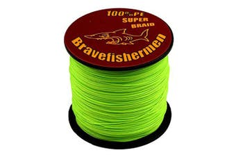 (100M, 60LB) - Bravefishermen Super Strong Pe Braided Fishing Line 2.7kg to 2.7kg Fluorescent Green