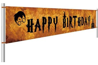 (#1) - Colormoon Large Harry Potter Happy Birthday Banner, Harry Potter Themed Party Supplies, Harry Potter Flags Garland Photo Prop Decorations Outdoor Indoor (3m x 0.5m)