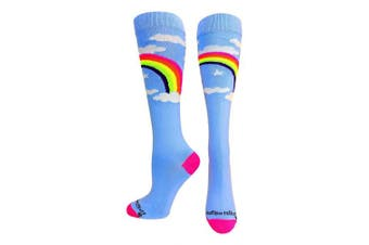 (Small, Sky Blue) - MadSportsStuff Neon Rainbow Clouds Over The Calf Athletic Socks