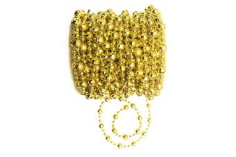 (Gold 8mm Faceted Bead) - ALL in ONE 10M/32FT Roll of Gold Colour Beads Pearl String Bead Chain for DIY Craft Decorating Wedding Party Supplies (Gold 8mm Faceted Bead)