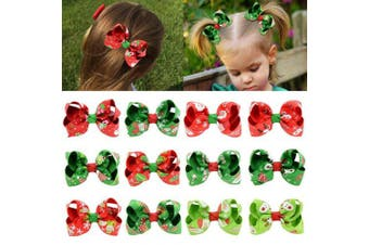 (7.6cm , 12PCS-BChristmas) - 12pcs Hair Bows for Girls 7.6cm Christmas Boutique Bow Alligator Clips Grosgrain Ribbon Hair Accessories Toddlers Kids Teens