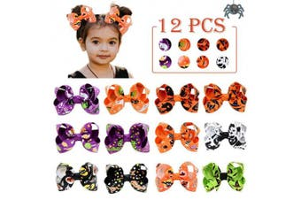 (7.6cm , 12PCS-BHalloween) - 7.6cm Hair Bows Clip 12 Pcs Boutique Alligato Halloween Bow Grosgrain Ribbon Accessories For Girls Baby Toddlers Kids