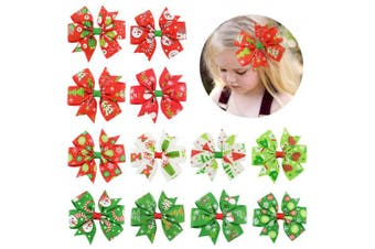 (7.6cm , 12PCS-AChristmas) - 12 Pcs Hair Bows Clips 7.6cm Boutique Alligato Christmas Bow Grosgrain Ribbon Accessories For Girls Baby Toddlers Kids