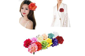 (12pcs) - 12Pcs Elegant Large Rose Flower Hair Clips Floral Brooches Pin Rose Hair Accessories For Women Girls Lady Bridal