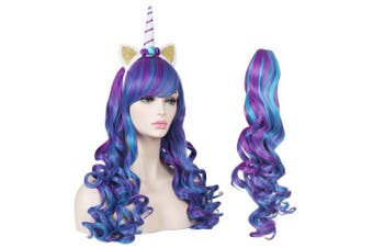 (Blue/Purple) - ColorGround Long Multicolor Cosplay Wig and Tail for High-end Theme Party (Blue/Purple)