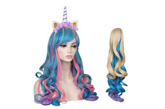 (Pink/Blue/Blonde) - ColorGround Long Multicolor Cosplay Wig and Tail for High-end Theme Party (Pink/Blue/Blone)