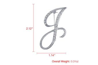 (J) - Vivilly 1Pcs A to Z 26 English Letters Silver Plated Metal Clear AAA+ Crystal Lapel Pin Brooches Collar