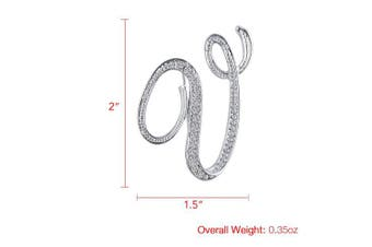 (V) - Vivilly 1Pcs A to Z 26 English Letters Silver Plated Metal Clear AAA+ Crystal Lapel Pin Brooches Collar