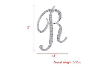(R) - Vivilly 1Pcs A to Z 26 English Letters Silver Plated Metal Clear AAA+ Crystal Lapel Pin Brooches Collar