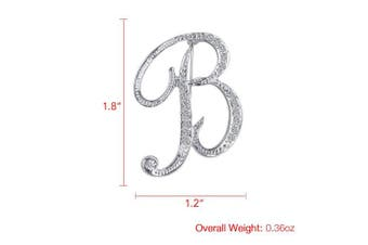 (B) - Vivilly 1Pcs A to Z 26 English Letters Silver Plated Metal Clear AAA+ Crystal Lapel Pin Brooches Collar