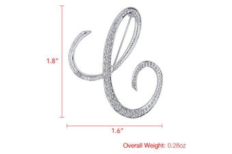 (C) - Vivilly 1Pcs A to Z 26 English Letters Silver Plated Metal Clear AAA+ Crystal Lapel Pin Brooches Collar