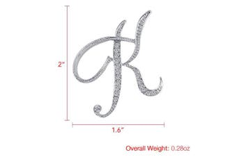 (K) - Vivilly 1Pcs A to Z 26 English Letters Silver Plated Metal Clear AAA+ Crystal Lapel Pin Brooches Collar