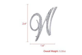 (W) - Vivilly 1Pcs A to Z 26 English Letters Silver Plated Metal Clear AAA+ Crystal Lapel Pin Brooches Collar