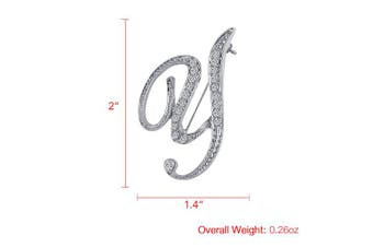(Y) - Vivilly 1Pcs A to Z 26 English Letters Silver Plated Metal Clear AAA+ Crystal Lapel Pin Brooches Collar