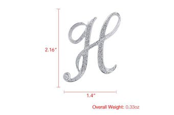 (H) - Vivilly 1Pcs A to Z 26 English Letters Silver Plated Metal Clear AAA+ Crystal Lapel Pin Brooches Collar