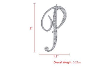 (P) - Vivilly 1Pcs A to Z 26 English Letters Silver Plated Metal Clear AAA+ Crystal Lapel Pin Brooches Collar