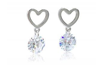 925 Sterling silver and cubic zirconia sparkly dangle heart earrings