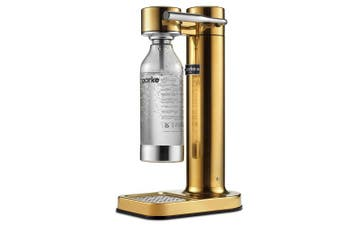(Brass) - Aarke Carbonator II Water Carbonator, Stainless Steel Casing, Soda Water Carbonator, Including Polyethylene Terephthalate (PET) Bottle, Compatible with CO2 Sodastream Cylinders One Size brass