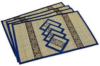 (Large Navy Blue (Small Trim)) - CCcollections Place Mat and Coaster 4 set 2 sizes Large and Medium Natural Reed wicker with plush silk trim and elephant print Eco sustainable craft (Large Navy Blue (small trim))