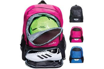 (Pink) - Athletico Youth Soccer Bag - Soccer Backpack & Bags for Basketball, Volleyball & Football | For Kids, Youth, Boys, Girls | Includes Separate Cleat and Ball Compartment