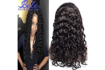 (60cm , Water Wave Wig) - Bele 10A Pre-Plucked Water Wave Lace Front Wigs 150% Density Peruvian Human Virgin Hair Lace Frontal Wigs With Baby Hair 60cm
