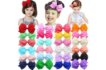 24 Colours Boutique Grosgrain Hair Bows Alligator Clips for Girls Toddlers Kids Baby Hair Accessories