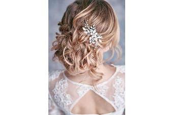Simsly Crystal Wedding Hair Pins Silver Leaf Hair Clips Bridal Wedding Hair Accessories Pearl Bridal Headpiece for Bride and Bridesmaids