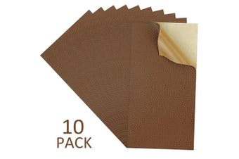 10 Pieces Leather Patches Leather Repair Kit for Couch Furniture Sofas Car Seats Handbags Jackets, Brown