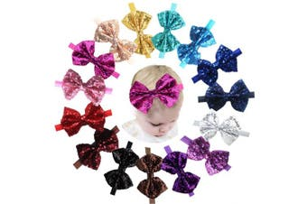 (15 Pcs Headbands) - 15pcs Baby Girl Headbands Sparkly Glitter Sequins 10cm Big Hair Bows Ribbon Soft Stretchy Hair Bands for Infant Newborn and Toddlers
