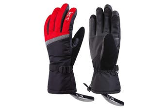 (Red, M) - KINEED Womens Touchscreen Ski Gloves Waterproof Winter Snow Snowboard 3M Thinsulate Cold Weather Warm Gloves with Wrist Straps