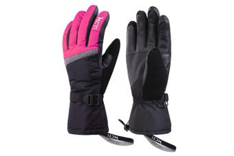 (Rose, M) - KINEED Womens Touchscreen Ski Gloves Waterproof Winter Snow Snowboard 3M Thinsulate Cold Weather Warm Gloves with Wrist Straps