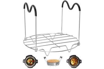 (Trivet with Silicone Handles) - Steamer Rack Trivet with Heat Resistant Handles Compatible with Instant Pot Accessories 5.7l 5.7l, Pressure Cooker Trivet Wire Steam Rack, Great for Lifting out Whatever Delicious Meats & Veggies You Cook