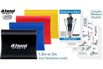 (Red (Medium), 1.2 Metre) - Atemi Sports Resistance Band | 1.2 Metre or 2 Metre | Four Resistance Levels | Free Workout Guide | Exercise Band Ideal for Physiotherapy, Strength and Fitness Training