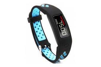 (Black Blue) - T-BLUER Silicone Colourful Replacement Wristband Strap for Garmin Vivofit 2 with Clasps Fitness Bands Suitable to, No Tracker Included