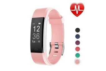 (Pink) - LETSCOM Fitness Tracker HR, Activity Tracker Watch with Heart Rate Monitor, Waterproof Smart Bracelet with Step Counter, Calorie Counter, Pedometer Watch for Kids Women and Men