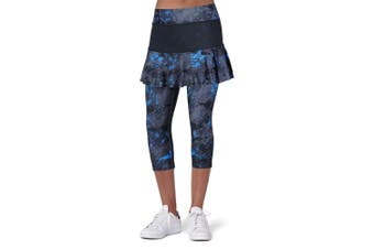 (Large, Darkblue Skirt-No-Pocket) - ANIVIVO Skirted Tennis Legging for Women, Skirted Capri Leggings Tennis Pants for Women & Sports Capri Skirted Leggings