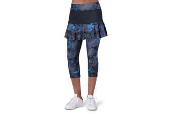 (Medium, Darkblue Skirt-No-Pocket) - ANIVIVO Skirted Tennis Legging for Women, Skirted Capri Leggings Tennis Pants for Women & Sports Capri Skirted Leggings