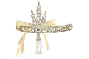 (Gold) - Coucoland Bling Gold-Tone The Great Gatsby Inspired Flapper Leaf Simulated Pearl Wedding Tiara Headpiece Gold