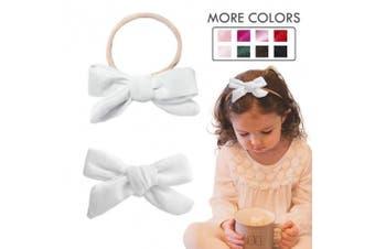 (Nylon Headband, White) - Baby Girl Headbands Nylon Knotted Hairbands Black Hair Accessories for Newborn Infant Toddler Girls