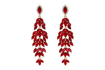 (Ruby Color Gold-toned) - Clearine Women's Wedding Bridal Crystal Multi Marquise-Shape Leaf Cluster Chandelier Dangle Earrings