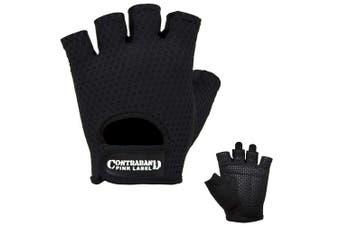 (Small, Black) - Contraband Pink Label 5307 Womens Design Series Diamond Mesh Lifting Gloves (Pair)
