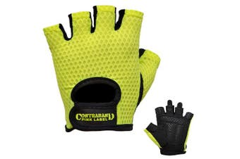 (Small, Green) - Contraband Pink Label 5307 Womens Design Series Diamond Mesh Lifting Gloves (Pair)