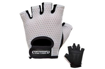 (Small, White) - Contraband Pink Label 5307 Womens Design Series Diamond Mesh Lifting Gloves (Pair)