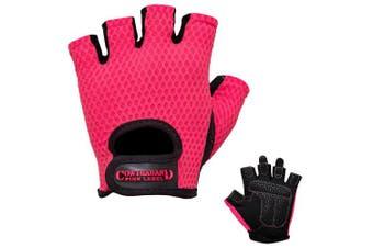 (Large, Pink) - Contraband Pink Label 5307 Womens Design Series Diamond Mesh Lifting Gloves (Pair)