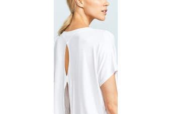 (Large, White) - Beyond Yoga Slinky Modal Split Keyhole Back Tee