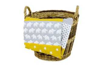 "(70cm  x 100cm , Elephant Yellow) - Elephant Baby Blanket by ULLENBOOM | Star/Chequered Patchwork Design | 27"" x 39"" - Unisex Yellow/Grey Colour"