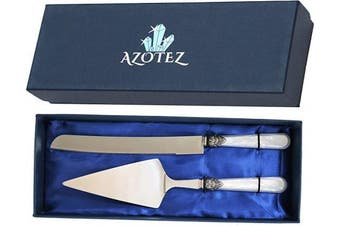 AZOTEZ Cake Server and Knife Set - Cake Cutter or Pie Cutter and Server – Wedding Cake Knife and Server Set. Gift for all occasions, Mother's Day Gift, Wedding Gift
