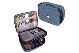 (Single, Medium, Denim Blue) - BUBM Travel Cable Bag, Ultra-compact Electronics Gadget Organiser Case for Data Cables, Chargers, Plugs, Memory Cards, CF Cards and More-a Sleeve Pouch Fits for iPad Mini (Medium, Denim Blue)