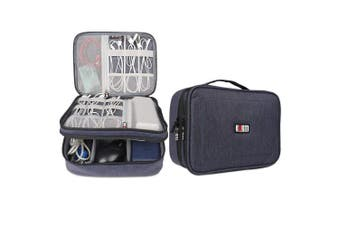 (Single, Large, Dark Blue) - BUBM Travel Cable Bag, Ultra-compact Electronics Gadget Organiser Case for Data Cables, Chargers, Plugs, Memory Cards, CF Cards and More-a Sleeve Pouch Fits for iPad(Large, Dark Blue)